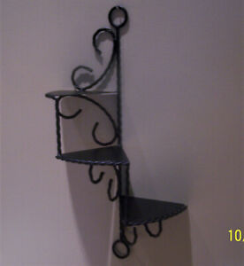 """Vintage Black Wrought Iron 3 Tier Twisted Spiral Wall Shelf - 22"""" Tall"""