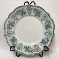 """Antique Grindley 10"""" Dinner Plate Brussels Pattern White Green Flowers Gold Trim"""