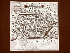 Bologna Incisione all'acquaforte del 1665 Nova descrittione di Francesco Scoto