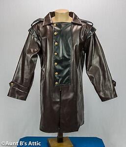Steampunk Coat Dark Brown & Black Vinyl Victorian Industrial Costume Frock Coat