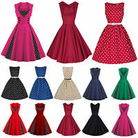 50'S 60'S ROCKABILLY DRESS Vintage Swing Pinup Housewife Prom Party Floral Dress