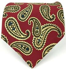 """Banana Republic Men's Silk Tie Paisley Red Yellow Brown Blue 57 3/4""""L Made Italy"""