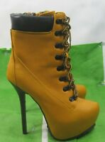 """new Wheat 6.5""""Stiletto High Heel 2""""Platform Lace Up Sexy Ankle Boots Size  7"""