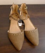 """New Old Navy Suede"""" Strappy D'orsay Flats Women Shoes Size 10 Olive Green"""