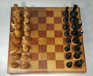 Vintage russian, completely wooden chess set. Made in USSR in 1964 .