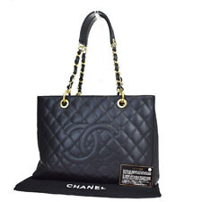 Auth CHANEL CC Quilted GST Chain Shoulder Bag Caviar Skin Leather Black 620LA662