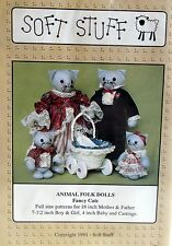 "Craft Pattern by Soft Stuff Cat family Mom Dad Kittens Vtg 90s 18"" stuffed doll"