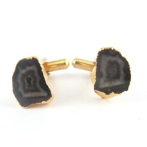 Top Selling Royal Black Geode Druzy Gold Electroplated Gemstone Men's Cufflinks
