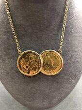 9ct Chain 2x Half Soverign Coin Pendant