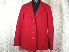 Pendleton womens Medium Pea coat Red wool single button fitted career casual