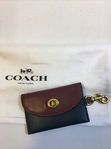 Coach Navy Blue and Maroon Leather Card Holder