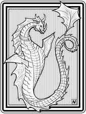 Coloring Page - Dragon # 8 - BURTAG (Hi-Res JPG file will be sent by email)