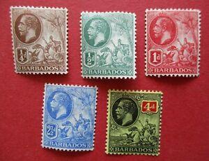 SG170-172 SG174 SG176 Barbados George V 1912 Part Set MM