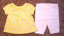 Girl's Size 6 M 3-6 Months Two Pc Yellow Carter's Dove Top & White J Beans Pants