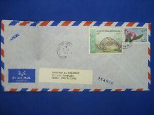 Laos 1973 France Carcassonne lettre cover Indo Chine Air Mail Par Avion