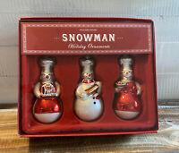 Williams Sonoma Limited Edition Chef Snowman Trio Glass Holiday Ornaments