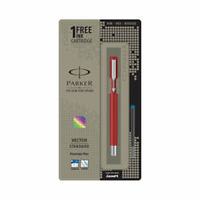 Parker Vector Chrome Trim CT Fountain Ink Pen, Red Body + 1 Ink Cartridge, New