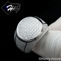 MEN 925 STERLING SILVER LAB DIAMOND FULL ICED OUT BLING ROUND RING*SR53