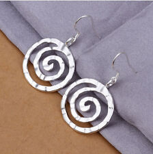 Silver Plated Swirly Circle Earrings.23mm Diameter. Pair Of Womens 925 Sterling