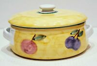 Caleca Frutta Yellow Hand-Painted 1.5 QT Round Covered Casserole Dish - Italy