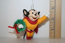 Carlton Cards Ornament - Christmas Crusader - Mighty Mouse - Cape - Wreath 1998