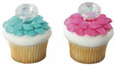 "Engagement Ring Plastic ""Diamond"" cupcake rings (24) favor cake topper 2 doz"
