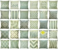 """Olive Green Throw PILLOW COVER Double-Sided Gray Decorative Cushion Case 18x18"""""""