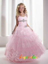 Flower Girl Dress for Wedding Bridesmaids Prom Ball Gown Pageant Party Pink pop