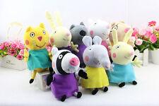 """8Pcs Peppa Pig Friends Plush Doll Stuffed Toy 8"""" Tall Suzy Sheep Rebecca Rabbit"""
