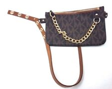 Michael Kors MK Logo Fanny  Pack with Chain, Chocolate (Size: XL)