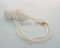 """3mm white AAA cultured pearl necklace 16"""" 18"""" 20"""" 22"""" 24"""" 14k gold clasp #92"""