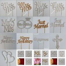 Wedding Cake Pick Metal Topper CLEAR Rhinestone Diamante GEMS Mr Mrs Cross Heart