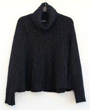 MARC CAIN Poncho Gr. N2 (36) Schwarz Damen Cape Rollkragen Pullover