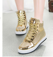 Shiny Womens Lace Up Athletic Platform Flats Fashion Sneakers Shoes Ankle Boots