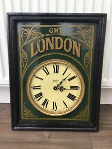 VINTAGE DEWBERRY OF LONDON GMT LONDON LARGE WALL CLOCK RAILWAY TRAIN STATION