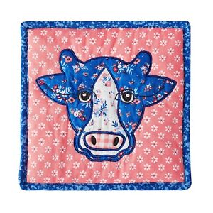 Pioneer Woman Patchwork Quilted Blue Cow Trivet Farm Country-Chic Kitchen Decor
