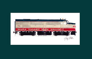 """Napa Valley Wine Train FPA4 #71 11""""x17"""" Matted Print Andy Fletcher signed"""