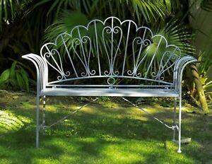 GlamHaus Metal Garden Furniture Bench Patio Seat Antique Blue Outdoor Foldable