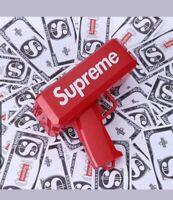 Supreme Money Launch Gun Cash Cannon Toy In Box Gift 1000 Dollar Bills Notes Red