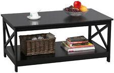 2 Tier Large Wood Coffee Table Storage Shelf Living Room Furniture Modern Black