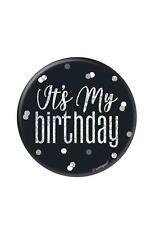 Black & Silver Glitz 'Its My Birthday' Badge