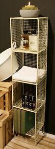4 Tier Square Shelf Unit Cream Home Storage Display Decor Metal Shelving Stand