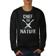 Wellcoda Chef By Nature Mens Sweatshirt, Knife Casual Pullover Jumper