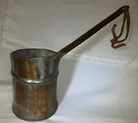 Vintage Copper W/ Brass Handle Melting Pot Smelting Pour Ladle, Turkish Coffee