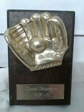 Vintage 1979 baseball wall plaque trophy Metal ball in glove On Composite board