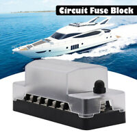 6 Circuit Fuse Block Box W/ Negative Ground Bus Bar Terminals Car Boat Caravan