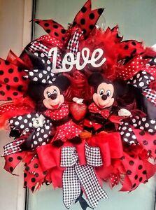 Handmade Mickey & Minnie Valentine's Day Wreath Deco Mesh Wall & Door Decor