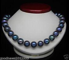 REAL BEAUTIFUL 18''10-11MM TAHITIAN BLACK BLUE NATURAL PEARL NECKLACE 14K