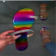 Rainbow Rhinestone Summer Beach Flat Slippers Flip Flops Sandals Outdoor Shoes