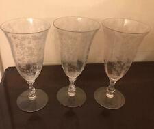 Three Cambridge Rose Point Goblets